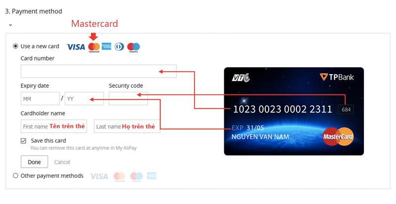 Điền thông tin của thẻ thanh toán trên Aliexpress